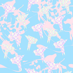 seamless texture of origami cranes on a blue background