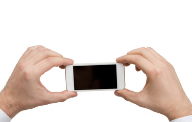 close up of man hands holding smartphone