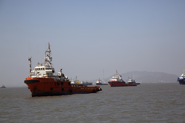 ships travelling in ocean