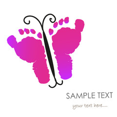 Baby footprints and butterfly vector