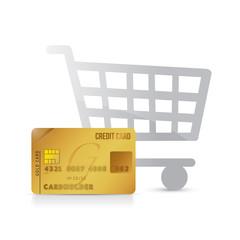 shopping cart and credit card illustration design