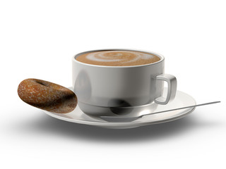 Cappuccino cup with donut cookie isolated on white background