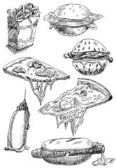 fast food set hand drawn