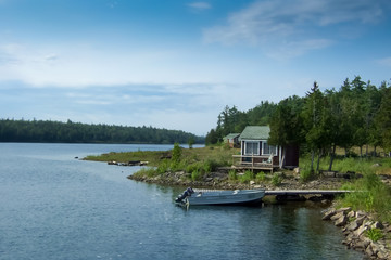 Cottage at waterfront, Georgian Bay, Tobermory, Ontario, Canada