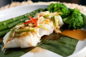 Thai Sea Bass with Asparagus