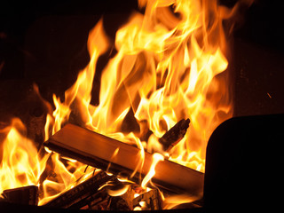 Close up of campfire