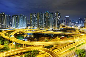 aerial view of the city overpass at night, HongKong