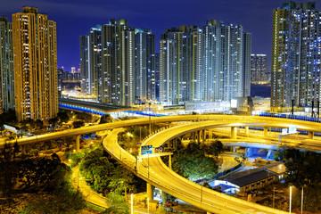 city overpass at night, HongKong