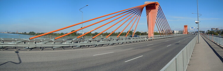 Panorama of Southern Bridge (Riga, Latvia)