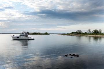 Boat in the sea, Georgian Bay, Tobermory, Ontario, Canada