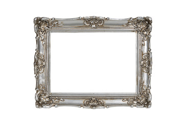 Silver picture frame over white with clipping path.