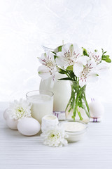 Tasty dairy products on table, close up