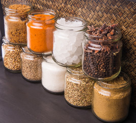 Different varieties of sugar and spices