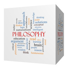Philosophy 3D cube Word Cloud Concept