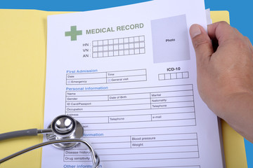 Wall Mural - Blank medical record form.