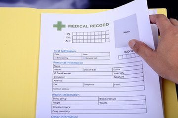 Wall Mural - Medical record form.