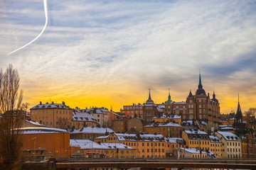 Architecture in Stockholm Sodermalm area in winter at sunset.