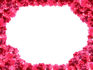 frame from red roses