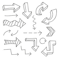 Hand drawn outline vector arrows design elements set