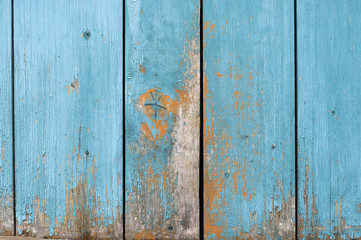 Old wall of wooden planks with paint cracked .