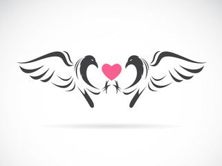 Vector image of a eagle and heart