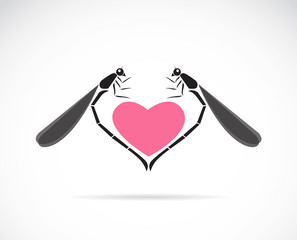 Vector image of a dragonflies and heart