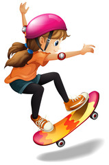A girl skateboarding