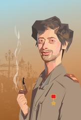 portrait man caricature military
