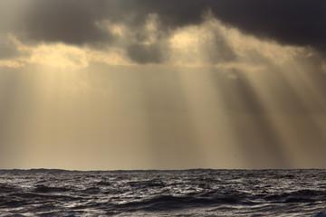 Sunbeams over sea