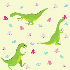 Dinosaur pattern with butterflies