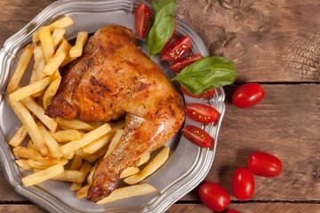 Roasted chicken leg.