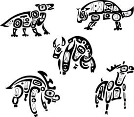 Native indian shoshone tribal drawings. Animals