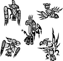 Native indian shoshone tribal drawings. Birds