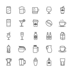 Set of Outline Stroke Beverage icon