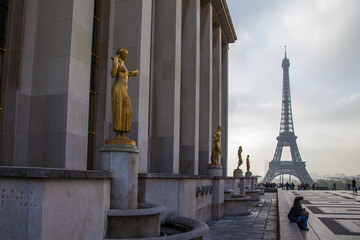 Paris, France . City view with  Eiffel tower in cloudy weather