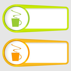set of two boxes for entering text with cup of coffee