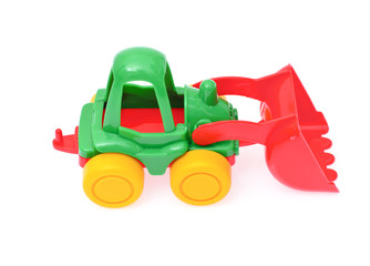 toy tractor isolated on white background