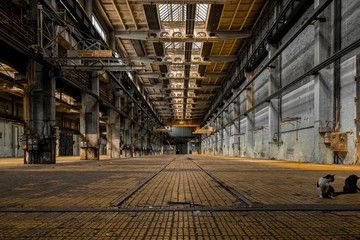 Large industrial hall of a repair station