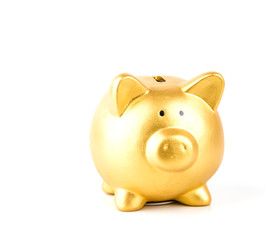 gold piggy bank isolated white background