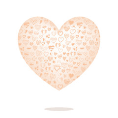 Big heart with pattern isolated on background