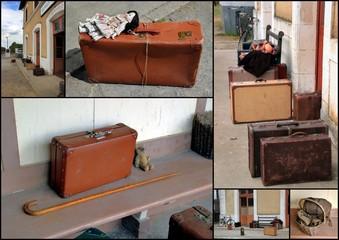Bagages sur un quai de gare.