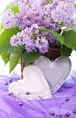 Valentine metal heart with flowers of lilac