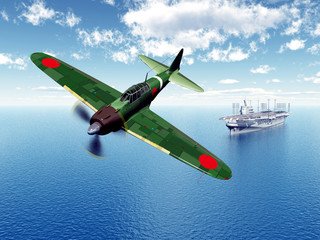 Fighter Bomber and Aircraft Carrier from the second world war