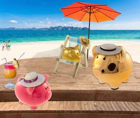 famille tirelire à la plage, concept vacances pour tous