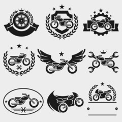 Motorcycles labels and icons set. Vector