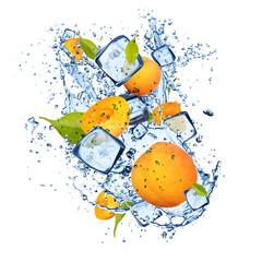 Papiers peints Dans la glace Ice apricot on white background