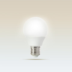 growing of led light bulb floating on gradient  light blue to wh