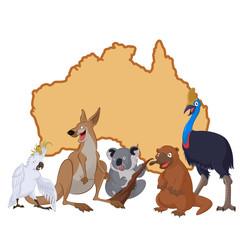 Australia with cartoon animals