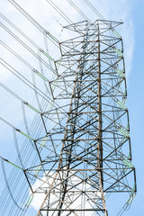 Electrical power tower and transmission lines