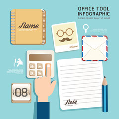 Infographic flat design icons office tool concept vector illustr